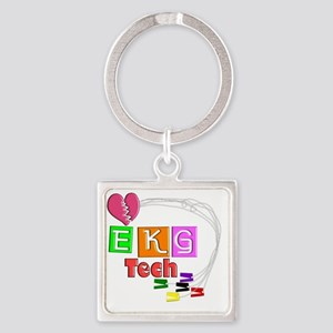 EKG Tech Square Keychain