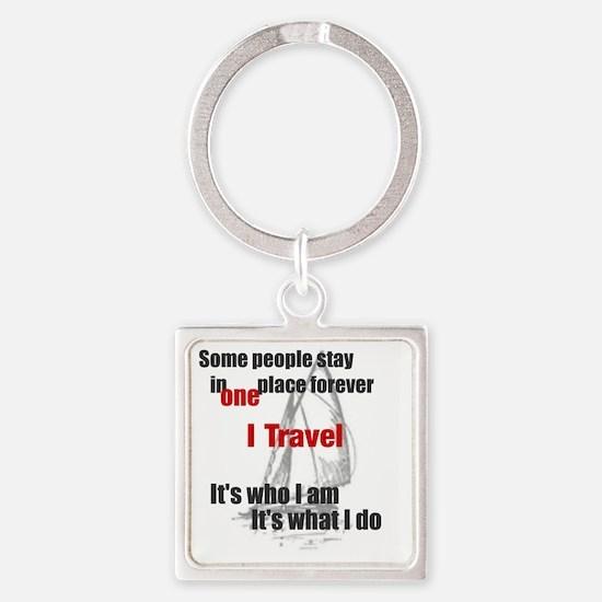 i travel split words Square Keychain