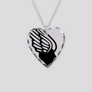 winged foot mercury symbol Necklace Heart Charm