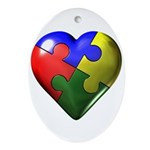 Puzzle Heart Oval Ornament