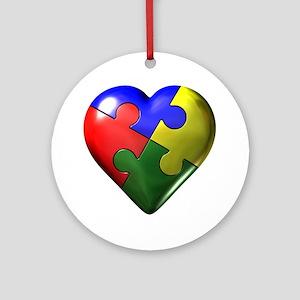 Puzzle Heart Ornament (Round)