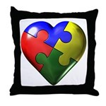 Puzzle Heart Throw Pillow