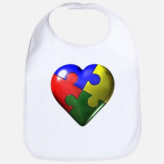 Puzzle Heart Bib