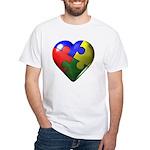 Puzzle Heart White T-Shirt