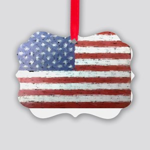 Artistic American Flag Picture Ornament