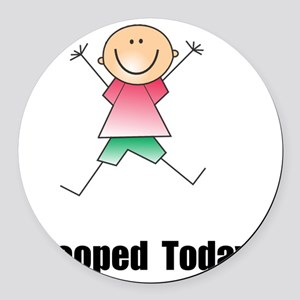 Pooped Today Black Round Car Magnet