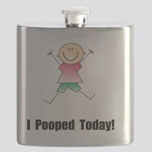 Pooped Today Black Flask