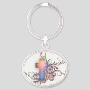 Colorful Cross Oval Keychain