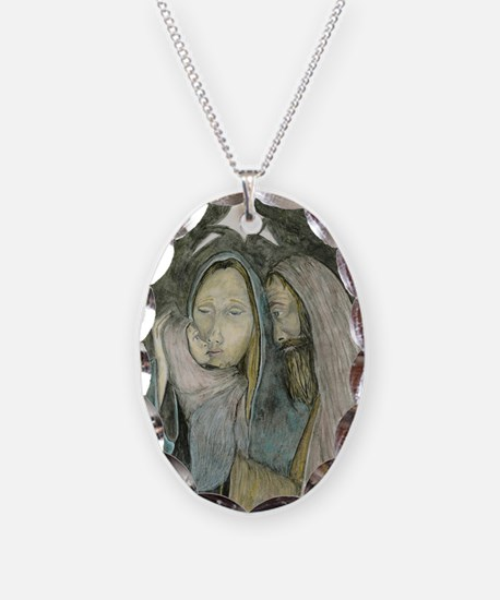 Holy Family Christmas Necklace Oval Charm