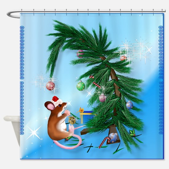 Humble Little Christmas Mouse Shower Curtain