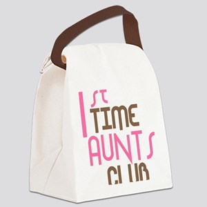 1sttimeauntsclubpink Canvas Lunch Bag