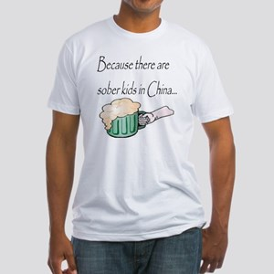 sober kids in china beer Fitted T-Shirt