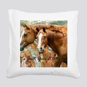 just you and me Square Canvas Pillow