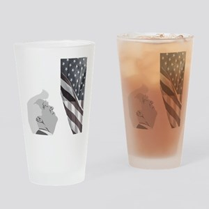 Trump and the American Flag Drinking Glass
