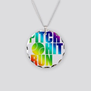 pitch hit and run(blk) Necklace Circle Charm
