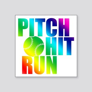 "pitch hit and run(blk) Square Sticker 3"" x 3"""