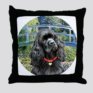 J-ORN-Bridge-Cocker-black Throw Pillow
