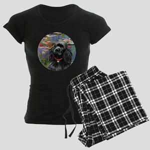 J-ORN-Lilies2-Cocker-black Women's Dark Pajamas