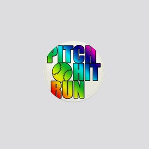 pitch hit and run Mini Button