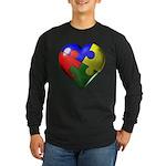 Puzzle Heart Long Sleeve Dark T-Shirt