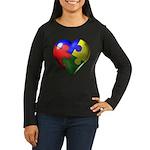 Puzzle Heart Women's Long Sleeve Dark T-Shirt