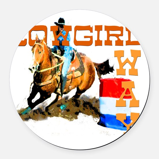 cowgirl way 2 Round Car Magnet