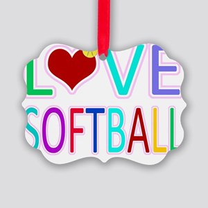 LOVE Softball Picture Ornament