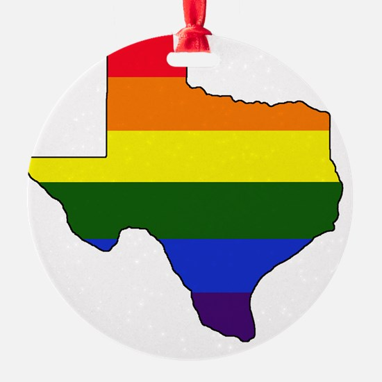 Texas Rainbow Colors With Outline Ornament