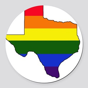 Texas Rainbow Colors With Outline Round Car Magnet
