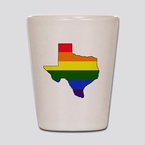 Texas Rainbow Colors With Outline Shot Glass