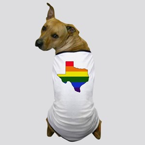 Texas Rainbow Colors With Outline Dog T-Shirt
