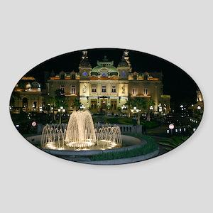Monte Carlo Casino at Night Sticker (Oval)