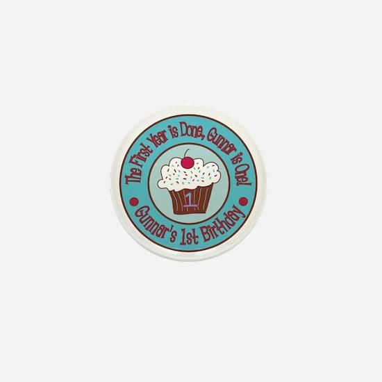 Gunnars-1st-Birthday_Teal-and-Brown-Cu Mini Button
