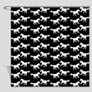 Black | White Wild Horses Shower Curtain