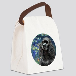 J-ORN-Lilies5-Cocker-black Canvas Lunch Bag