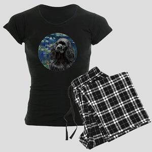 J-ORN-Lilies5-Cocker-black Women's Dark Pajamas