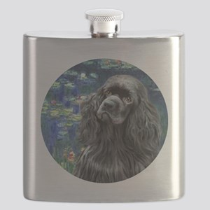 J-ORN-Lilies5-Cocker-black Flask