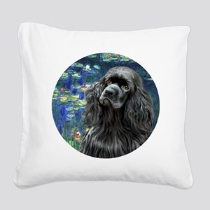 J-ORN-Lilies5-Cocker-black Square Canvas Pillow