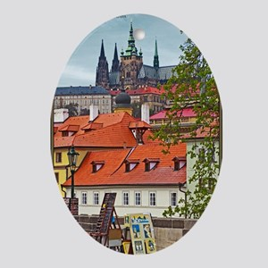 Prague - St Vitus and Prague Castle Oval Ornament