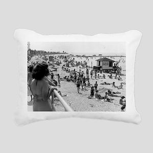 PBeach1940s Rectangular Canvas Pillow