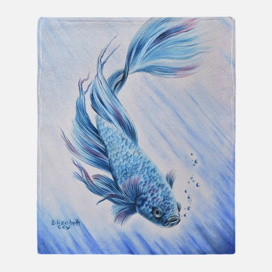 Cute Fins and bubbles Throw Blanket