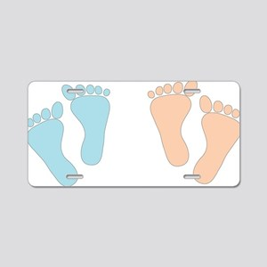 BLUE_PINKTWINFEET Aluminum License Plate