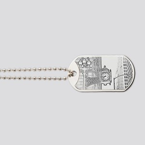 bw sketch filter marshall fields clock Dog Tags