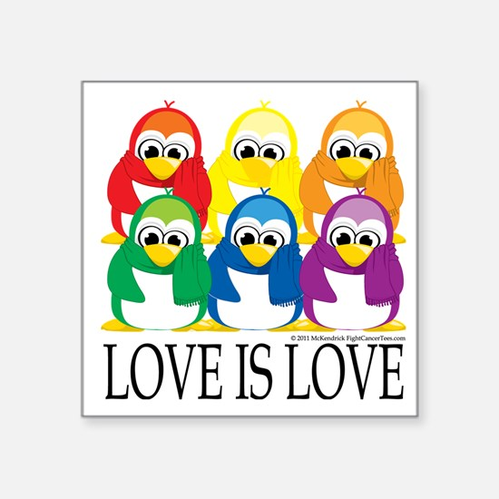 """Love-Is-Love-Penguins-Stack Square Sticker 3"""" x 3"""""""