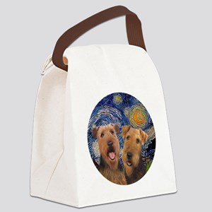 J-ORN-Starry-Two Airedales Canvas Lunch Bag