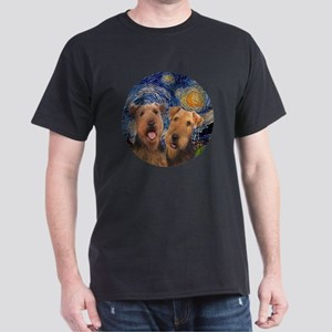 J-ORN-Starry-Two Airedales Dark T-Shirt