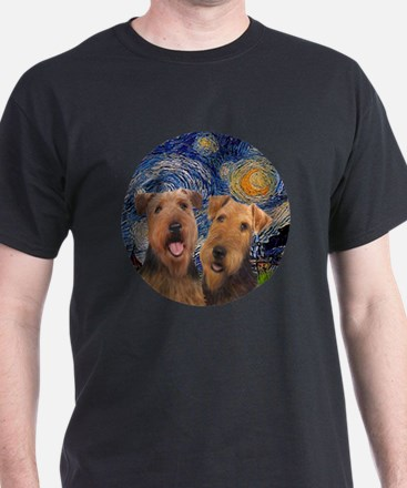 J-ORN-Starry-Two Airedales T-Shirt