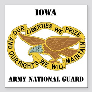 "IOWA ANG with text Square Car Magnet 3"" x 3"""