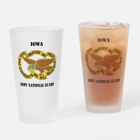 IOWA ANG with text Drinking Glass