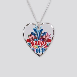 Happy-4th-of-July Necklace Heart Charm